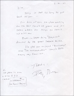 BILLY DRAGO - AUTOGRAPH LETTER SIGNED 03/17/2007
