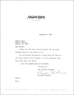 THE McGUIRE SISTERS (PHYLLIS McGUIRE) - TYPED LETTER SIGNED 12/27/1990