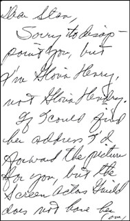 GLORIA HENRY - AUTOGRAPH LETTER DOUBLE SIGNED
