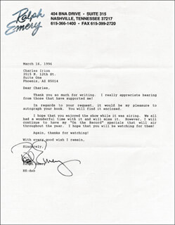 RALPH EMERY - TYPED LETTER SIGNED 03/16/1996