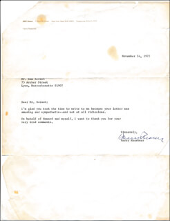 HARRY REASONER - TYPED LETTER SIGNED 11/14/1972
