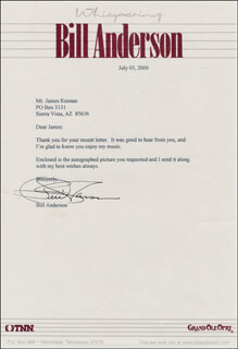 BILL WHISPERING BILL ANDERSON - TYPED LETTER SIGNED 07/03/2000