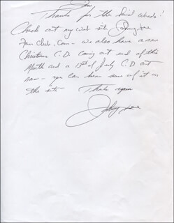 JOHNNY LEE - AUTOGRAPH LETTER SIGNED