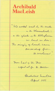 ARCHIBALD MacLEISH - AUTOGRAPH QUOTATION SIGNED 4/1975