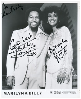 MARILYN McCOO - INSCRIBED PRINTED PHOTOGRAPH SIGNED IN INK CO-SIGNED BY: BILLY DAVIS JR.