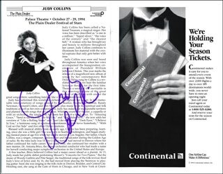 JUDY COLLINS - PROGRAM SIGNED