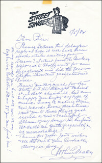 ARTHUR TRACY - AUTOGRAPH LETTER SIGNED 05/05/1982