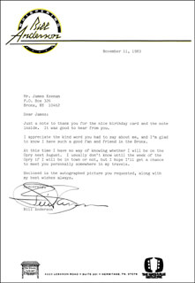 BILL WHISPERING BILL ANDERSON - TYPED LETTER SIGNED 11/11/1983