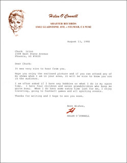 HELEN O'CONNELL - TYPED LETTER SIGNED 08/13/1990