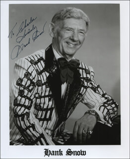 HANK SINGING RANGER SNOW - INSCRIBED PRINTED PHOTOGRAPH SIGNED IN INK