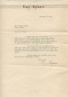 KAY KYSER - TYPED LETTER SIGNED 11/15/1940