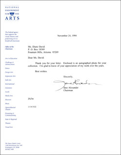 Autographs: JANE ALEXANDER - TYPED LETTER SIGNED 11/24/1994