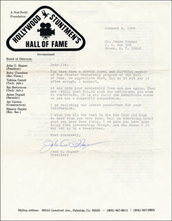 JOHN G. HAGNER - TYPED LETTER SIGNED 01/04/1986