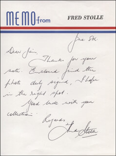 FRED STOLLE - AUTOGRAPH LETTER SIGNED