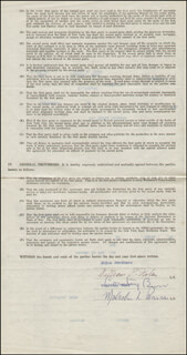 MALCOLM PEARSON - CONTRACT DOUBLE SIGNED 08/07/1950 CO-SIGNED BY: COURTNEY BURR, NOLAN BROTHERS (WILLIAM P. NOLAN)
