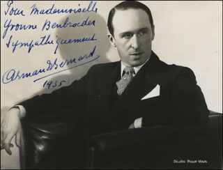 ARMAND BERNARD - AUTOGRAPHED INSCRIBED PHOTOGRAPH 1935