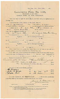 Autographs: LYMAN G. BLOOMINGDALE - APPLICATION SIGNED 10/24/1896