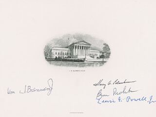 Autographs: THE WARREN E. BURGER COURT - SUPREME COURT ENGRAVING SIGNED CO-SIGNED BY: ASSOCIATE JUSTICE BYRON R. WHITE, ASSOCIATE JUSTICE LEWIS F. POWELL JR., ASSOCIATE JUSTICE WILLIAM J. BRENNAN JR., ASSOCIATE JUSTICE HARRY A. BLACKMUN