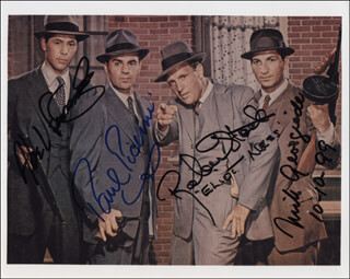 UNTOUCHABLES TV CAST - AUTOGRAPHED SIGNED PHOTOGRAPH 10/10/1999 CO-SIGNED BY: PAUL PICERNI, ROBERT STACK, NICK GEORGIADE, ABEL FERNANDEZ