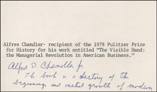 Autographs: ALFRED D. CHANDLER JR. - AUTOGRAPH NOTE SIGNED