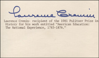 LAWRENCE CREMIN - TYPED CARD SIGNED