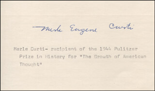 MERLE EUGENE CURTI - TYPED CARD SIGNED