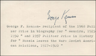 Autographs: GEORGE F. KENNAN - TYPED CARD SIGNED