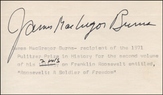 JAMES MACGREGOR BURNS - TYPED CARD SIGNED