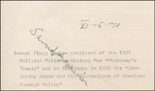SAMUEL FLAGG BEMIS - TYPED CARD SIGNED 06/05/1971