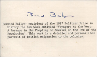 Autographs: BERNARD BAILYN - TYPED CARD SIGNED