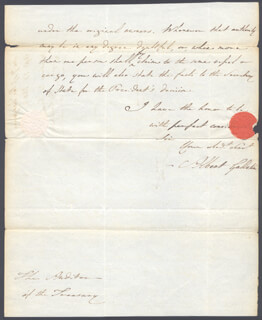 Autographs: ALBERT GALLATIN - AUTOGRAPH LETTER SIGNED 04/13/1802
