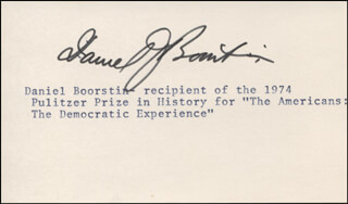 Autographs: DANIEL J. BOORSTIN - TYPED CARD SIGNED