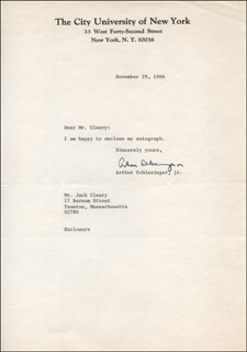 ARTHUR M. SCHLESINGER JR. - TYPED LETTER SIGNED 11/29/1966