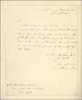 ALBERT GALLATIN - AUTOGRAPH LETTER SIGNED 10/26/1805