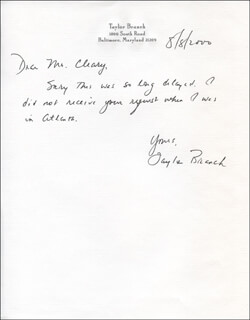 TAYLOR BRANCH - AUTOGRAPH LETTER SIGNED 08/08/2000