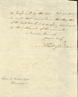 Autographs: ALBERT GALLATIN - AUTOGRAPH LETTER SIGNED 01/22/1806