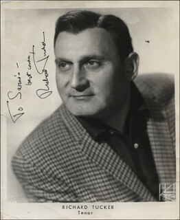 RICHARD TUCKER - INSCRIBED PRINTED PHOTOGRAPH SIGNED IN INK