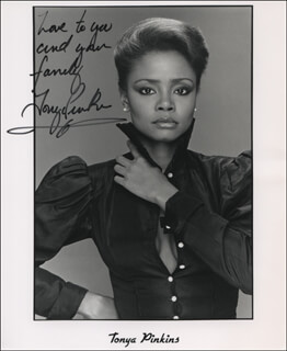 TONYA PINKINS - INSCRIBED PRINTED PHOTOGRAPH SIGNED IN INK