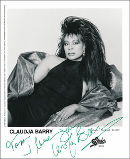 Autographs: CLAUDJA BARRY - INSCRIBED PRINTED PHOTOGRAPH SIGNED IN INK