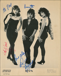 DIVA - INSCRIBED PRINTED PHOTOGRAPH SIGNED IN INK CO-SIGNED BY: DIVA (CINDY ), DIVA (YVONNE ), DIVA (ANNETTE )