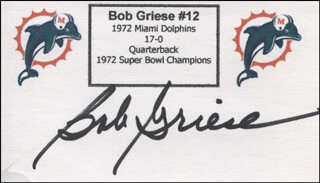 BOB GRIESE - PRINTED CARD SIGNED IN INK