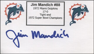 JIM MAD DOG MANDICH - PRINTED CARD SIGNED IN INK