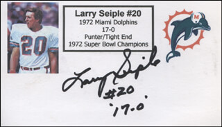 LARRY SEIPLE - PRINTED CARD SIGNED IN INK