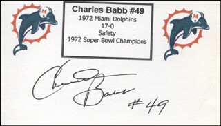 CHARLES BABB - PRINTED CARD SIGNED IN INK