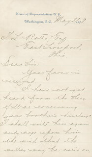 PRESIDENT WILLIAM McKINLEY - MANUSCRIPT LETTER SIGNED 05/31/1889