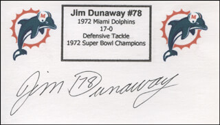 Autographs: JIM DUNAWAY - PRINTED CARD SIGNED IN INK