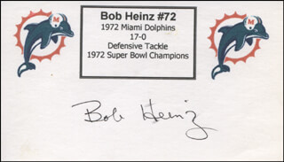 BOB HEINZ - PRINTED CARD SIGNED IN INK