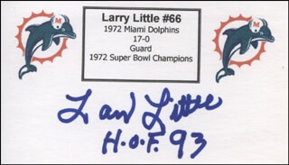 LARRY LITTLE - PRINTED CARD SIGNED IN INK