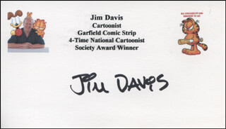 JIM DAVIS - PRINTED CARD SIGNED IN INK