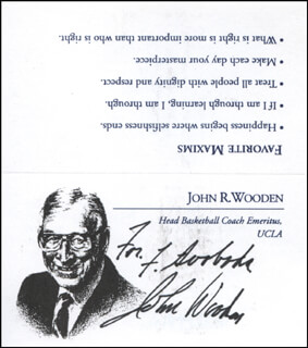 JOHN WOODEN - INSCRIBED PRINTED CARD SIGNED IN INK